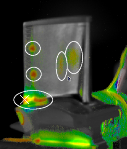 Vibrothermography image of a turbine blade, analyzed with ISU-developed image sequence processing.